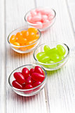 jelly beans in glass bowl