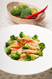 Italian penne pasta with broccoli and chili pepper