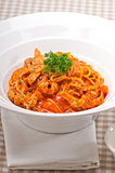 Italian spaghetti pasta with tomato and chicken