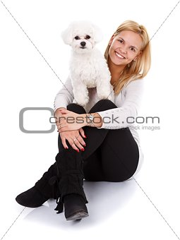 Friendship between a girl and her puppy