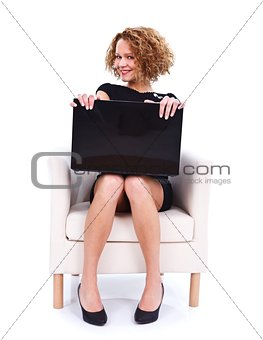 Flirty girl with laptop