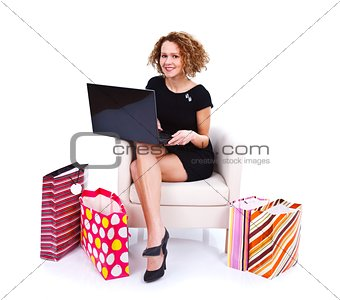 Girl shopping onlie via internet