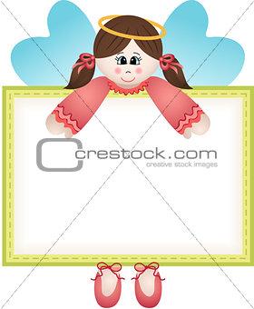 Cute fairy holding a blank banner