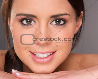 Attractive Young Vibrant Woman in an Extreme Face Close Up
