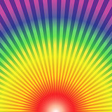 Rainbow radial rays bottom up abstract background