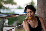 Indian girl with tea