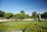 statue and trees in Madrid park