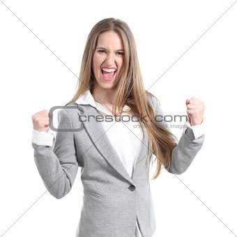 Euphoric and young businesswoman
