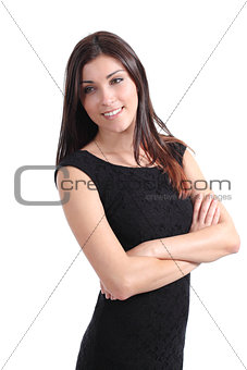 Beautiful woman smiling with her arms folded