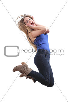 Blonde teenager jumping happy