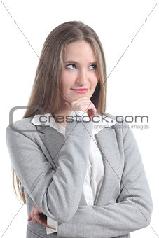 Beautiful blonde businesswoman smiling and thinking
