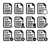 CV - Curriculum vitae, resume vector icons set