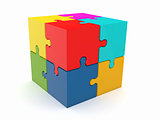 Abstract cube from puzzle on white background
