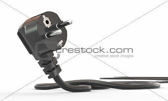 Black electric plug on white background