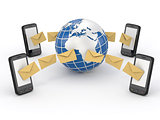 Sms messages, mobile phone and earth. SMS voting