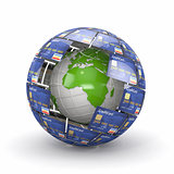 Earth in sphere from credit cards