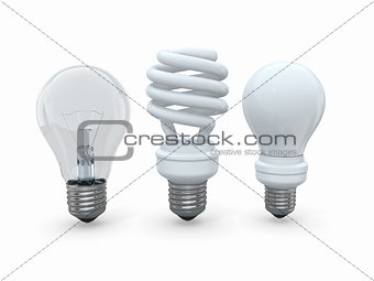 Three types of lamp bulbs on white background