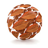 Autumn. Sphere from red leaf. 3d