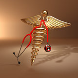 Medical background. Stethoscope, caduceus symbol  and cardiogram