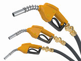 Gas pump nozzles o0n white isolated background