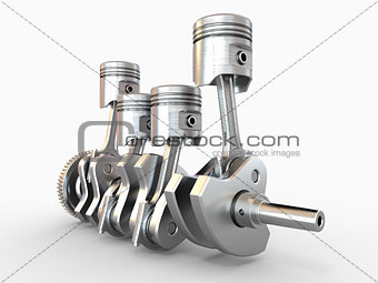 Pistons and crankshaft. four cylinder engine.