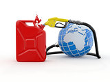 Earth, gas pump nozzle and canister