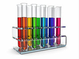 scientific research. Glass test tubes with reagent