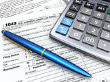 Tax Return 1040, calculator and peò. 3d