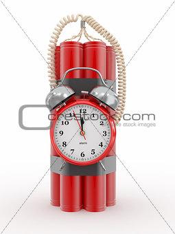 Time bomb with alarm clock detonator. Dynamit. 3d