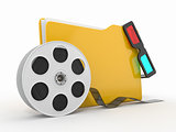 Multimedia folder. Film reel and 3d glasses