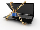 Pc security. Laptop with chain and lock