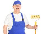 Confident house painter