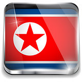 North Korea Flag Smartphone Application Square Buttons