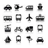 Transport, travel vector icons set isoalted on white