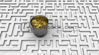 Coins in the  labyrinth