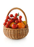 Different varieties of tomatoes in a basket