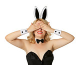 Funny girl in a bunny suit, closed her eyes