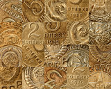 Old Soviet coins collage