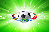 Soccer ball, flags, light