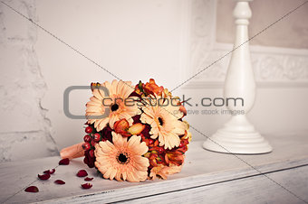 Bouquet on the piano