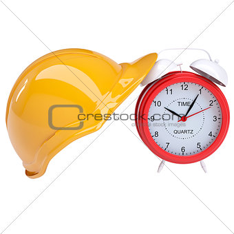 Red alarm and yellow helmet