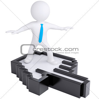 3d white man flying on computer hand
