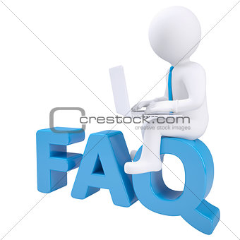 3d white man with laptop sitting on the word FAQ