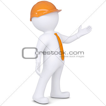 3d white man in helmet points hand