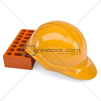 Building bricks and helmet