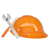 Helmet, wrench and a screwdriver