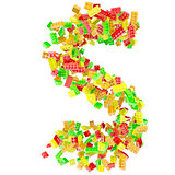 The letter S is made up of children&#39;s blocks