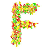 The letter F is made up of children's blocks