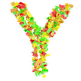 The letter Y is made up of children's blocks