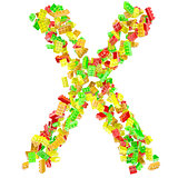 The letter X is made up of children's blocks